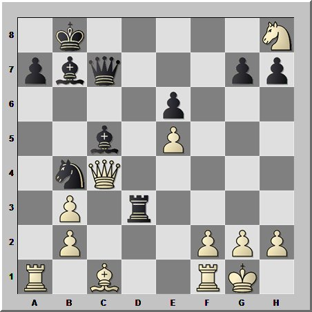 Шахматная комбинация в сложной позиции и с красивым вступительным ходом