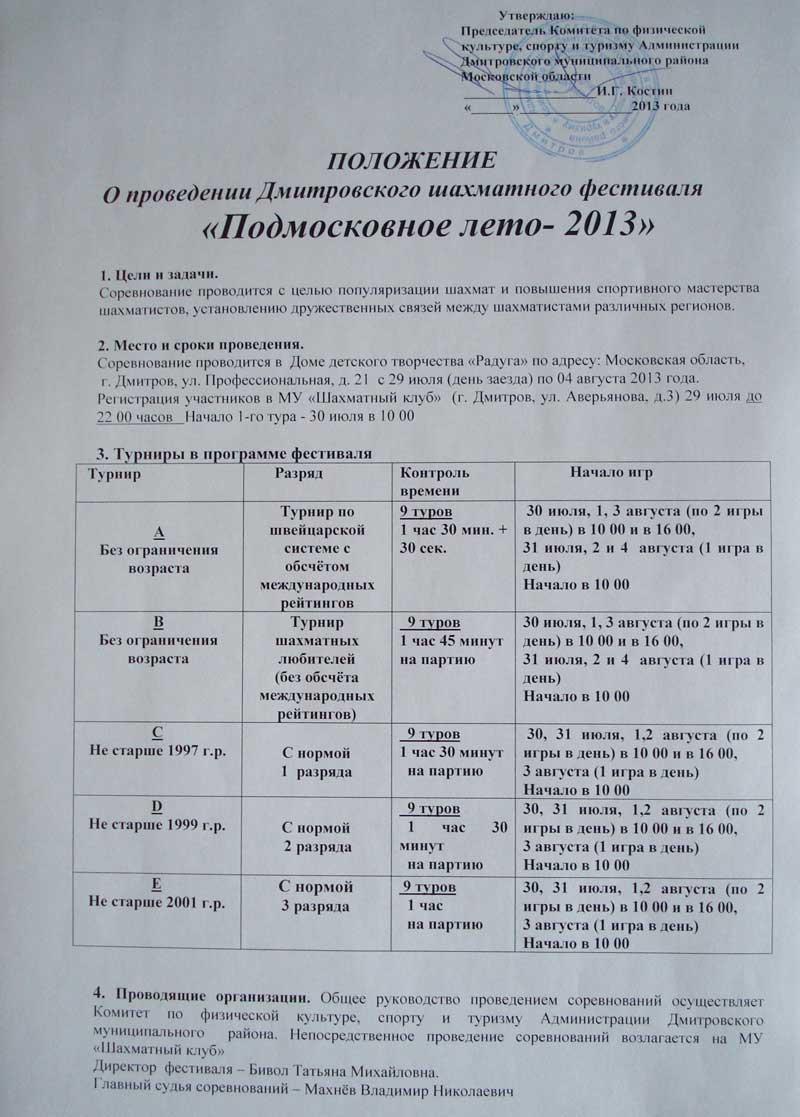 Положение о проведении Дмитровского шахматного фестиваля «Подмосковное лето — 2013»